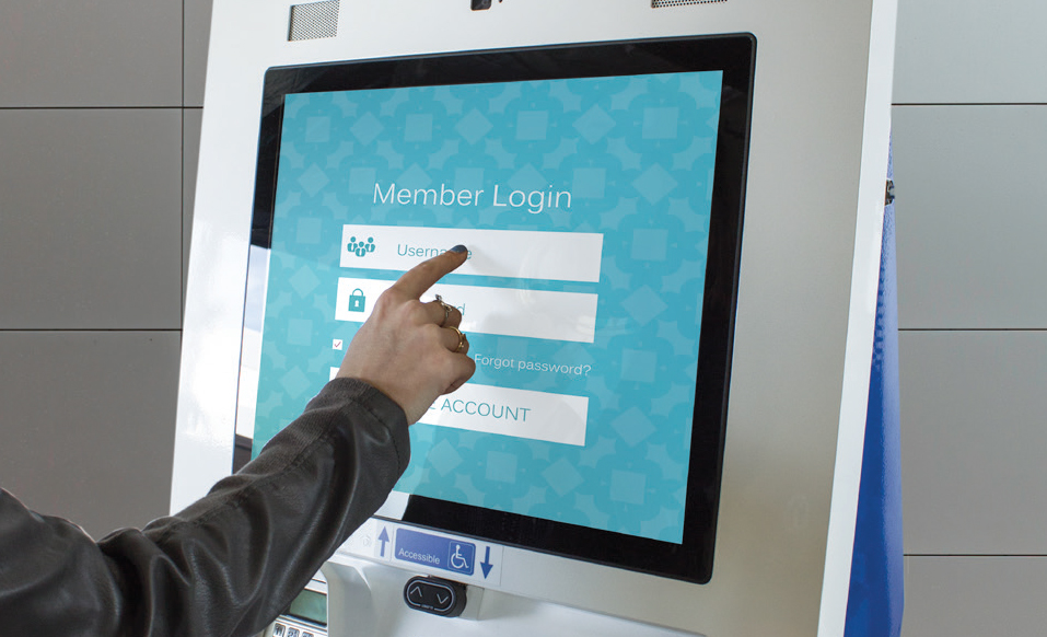 Touch screen kiosk login screen
