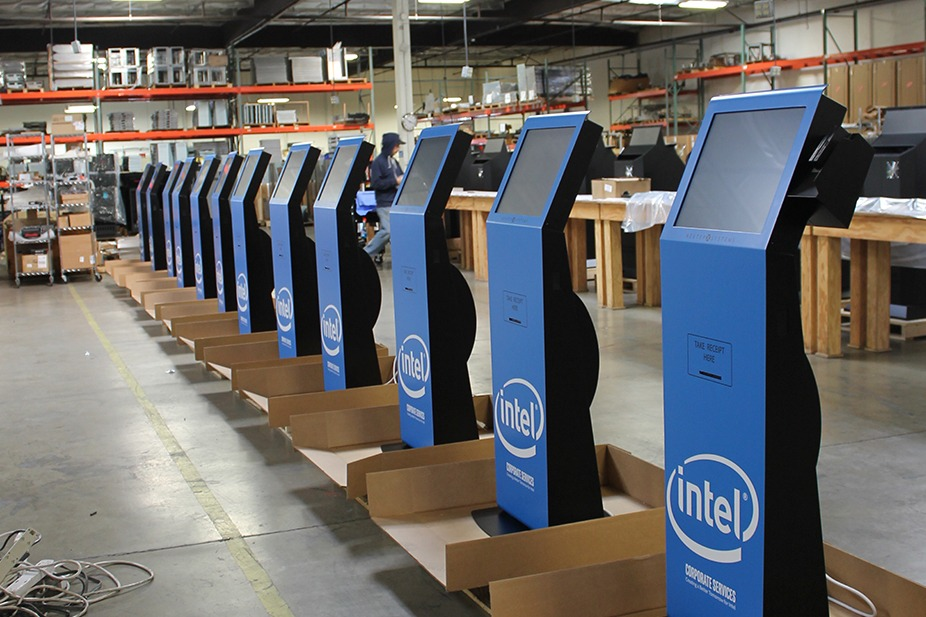 Blue Kiosks in Warehouse