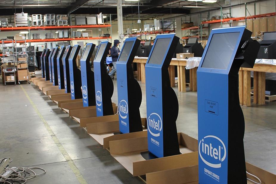 Blue Kiosks in Warehouse