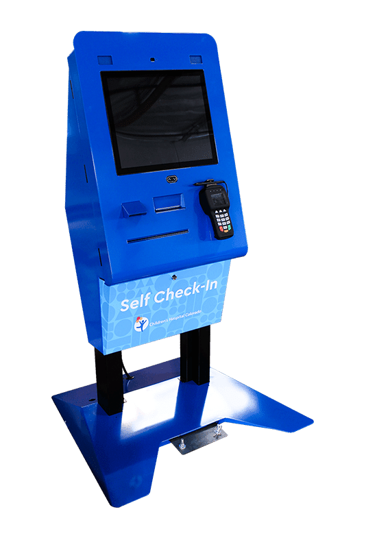 Self Check-In Kiosk Blue