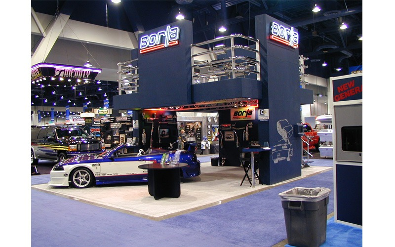 This was an exhibit for Borla Exhaust that was shown in the 2000 SEMA show in Vegas. An example of one of the hundreds of Two-Story exhibit structures that Olea built over the years.
