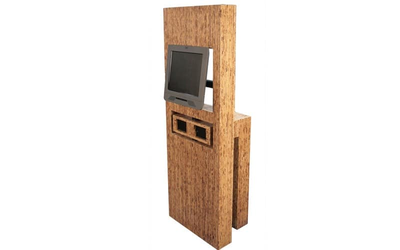 This was an experimental Environmentally-friendly Kiosk that Olea developed and exhibited at a tradeshow with IBM. The enclosure was made of Sorghum board which used a waste product from the Sorghum plant to make a pressed board material. Circa 2008.