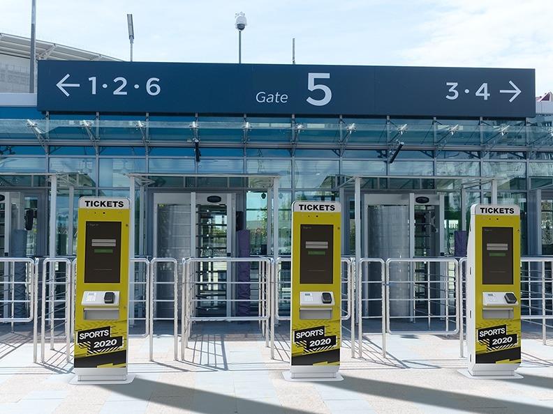 Stadium with Three Kiosks at Entrance
