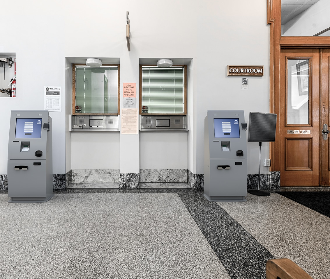 Kiosks in Franklin Courthouse